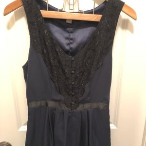 Forever 21 Sexy navy with black lace mini dress.